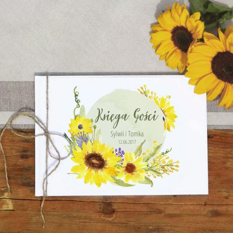 KSIĘGA GOŚCI weselnych Kolekcja Słoneczniki BIAŁE/CZARNE KARTKI