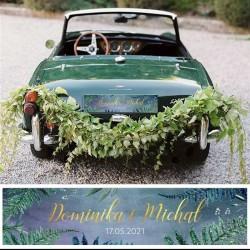 Tablica rejestracyjna na auto ślubne z imionami Pary Młodej lub innym napisem. Super dodatek na ślub.