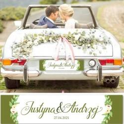TABLICA rejestracyjna na auto ślubne. Niezbędny dodatek ślubny i dekoracja samochodu z imionami Pary Młodej.