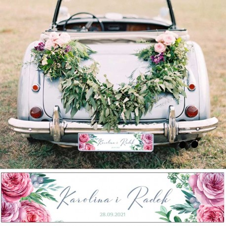 TABLICA rejestracyjna ślubna z imionami Pary Młodej. Dekorowana ciemnoróżowymi kwiatami. Niezbędny dodatek ślubny.