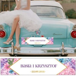 TABLICA rejestracyjna - dekoracja na samochód ślubny z imionami Pary Młodej. Niezbędny dodatek ślubny.
