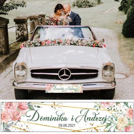 TABLICA rejestracyjna personalizowana - niezbędna dekoracja ślubna. Kwiatowo geometryczny modny wzór z imionami Pary Młodej.