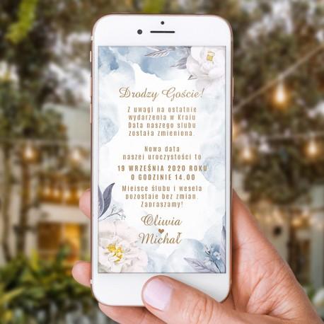 ZAWIADOMIENIE ślubne elektroniczne w modnym kolorze dusty blue. Wysłane w wysokiej rozdzielczości z Waszym tekstem.