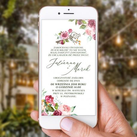 Zaproszenie ślubne w formie elektronicznej. Może być też zaproszeniem ślubnym. Kwiatowa grafika z kluczem otacza Wasz tekst.