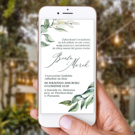 ZAWIADOMIENIE/ZAPROSZENIE ślubne - plik elektroniczny z tekstem podesłanym przez Was.