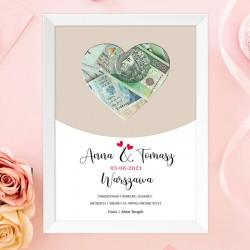 Prezent ślubny dla Młodej Pary ramka na pieniądze z imionami.