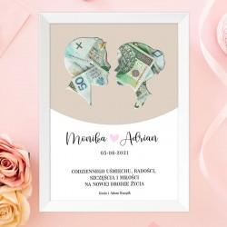 PLAKAT w ramce prezent dla Młodej Pary na pieniądze. Imiona Pary Młodej na plakacie. Motyw zakochanej pary.