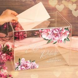 SKRZYNIA na telegramy szkło akrylowe Różowe Kwiaty LUXURY