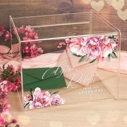 SKRZYNIA na telegramy szkło akrylowe Różowe Kwiaty LUXURY. Grafika kwiatowa oraz imiona Pary Młodej.