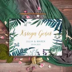 KSIĘGA GOŚCI weselnych Botanica ZŁOTE LITERY BIAŁE/CZARNE KARTKI