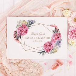 KSIĘGA GOŚCI weselnych Piwonia BIAŁE/CZARNE KARTKI