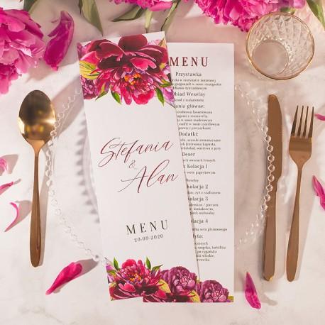 Personalizowana karta menu na ślub i wesele. Menu z imionami Pary Młodej z pięknymi kwiatami.