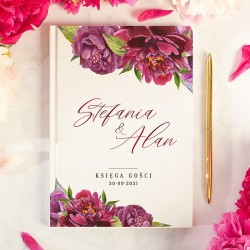 Księga gości weselnych A5 w stylu kolekcji z Piwoniami. Personalizowana księga gości na ślub i wesele.