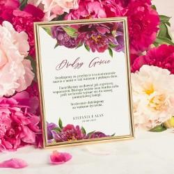 Instrukcja do księgi gości z motywem piwonii. Dodatki na ślub i wesele z personalizacją.