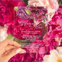ZAPROSZENIE ślubne akrylowe przezroczyste All You need is LOVE z personalizowanym nadrukiem. Eleganckie zaproszenie z akrylu.