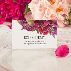 Bilecik dekoracyjny z podziękowaniem za przybycie na wesele z piwoniami.