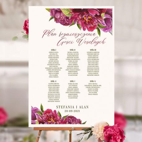 Plan stołów personalizowany All You need is LOVE na wesele z imionami gości.