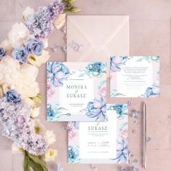 ZAPROSZENIE ślubne personalizowane Violet Blue z imionami Pary Młodej