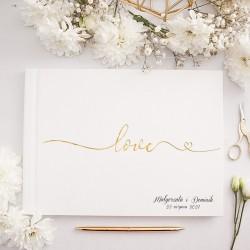 KSIĘGA GOŚCI weselnych ze złotym napisem Love Z IMIONAMI Pary Młodej na okładce.