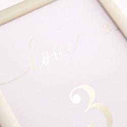 TABLICZKA na stolik z personalizacją Srebrne Love (+ramka)