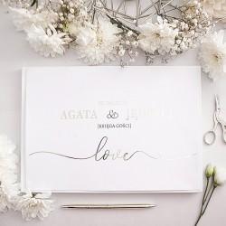 KSIĘGA GOŚCI weselnych Srebrne Love BIAŁE/CZARNE KARTKI