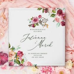 ALBUM ślubny na zdjęcia prezent dla Pary Młodej. Biała okładka z motywem kwiatów i imionami Nowożeńców.