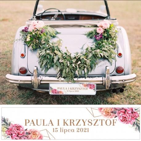 Tablica personalizowana z kwiatowym wzorem. Ślubna dekoracja samochochodu na wesele.