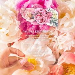 ZAPROSZENIE ślubne akrylowe - przezroczyste Sweet Peony