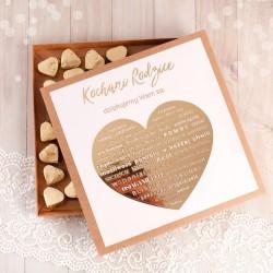 Pudełko z czekoladkami złote serduszko Serce Złote podziękowanie dla Rodziców