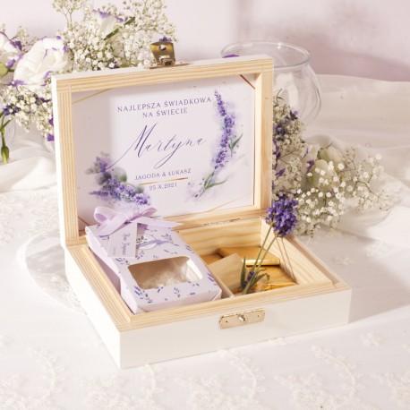PREZENT dla Świadkowej w drewnianym pudełku zapach Kolekcja Lawenda
