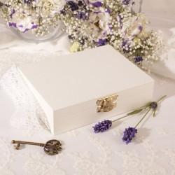 PREZENT dla Świadkowej w drewnianym pudełku podziękowanie Kolekcja Lawenda