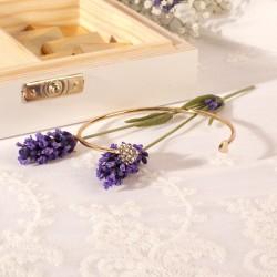 PREZENT dla Świadkowej w drewnianym pudełku bransoletka + czekoladki Kolekcja Lawenda