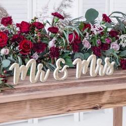 NAPIS drewniany Mr & Mrs Złoty Brokat