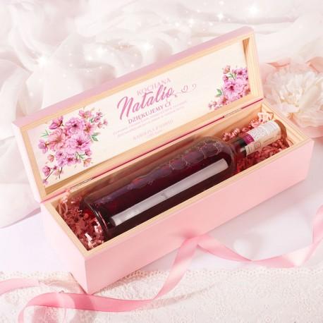 Skrzynka drewniana różowa podziękowanie dla Świadkowej