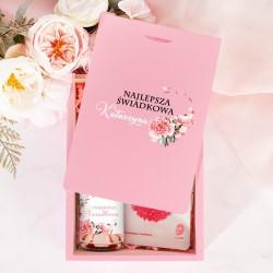 PREZENT dla świadkowej podziękowanie w różowym pudełku PERSONALIZOWANY
