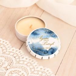 ŚWIECZKA zapachowa upominek dla gości weselnych Złoto-Granatowa Z IMIONAMI