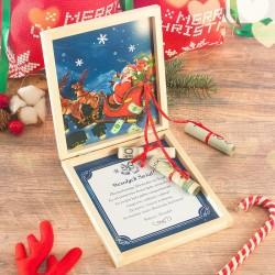 PREZENT Na Święta Pudełko Na Pieniądze Sanie Mikołaja