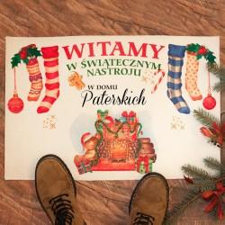 WYCIERACZKA/DYWANIK świąteczne Powitanie Gości z Nazwiskiem Rodziny