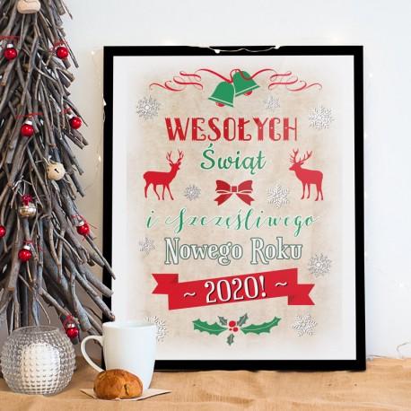 PLAKAT dekoracyjny Wesołych Świąt 50x70cm