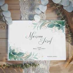 KSIĘGA GOŚCI weselnych z motywem zielonych gałązek i imionami Pary Młodej. Zielone gałązki w stylu natural.