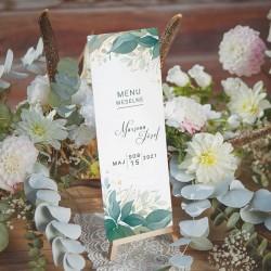 MENU weselne z motywem gałązek z zielonymi listkami. Dekorowane imionami Pary Młodej i jadłospisem.