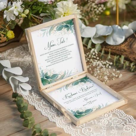 Prośba o Błogosławieństwo rodziców. Dodatek ślubny z motywem zielonych listków w stylu natural.