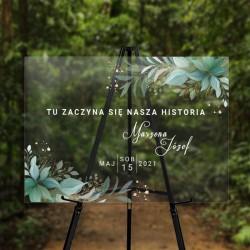 TABLICA powitalna na ślub i wesele. Transparentna tablica z imionami Pary Młodej. Motyw zielonych gałązek.