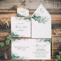 ZAPROSZENIE ślubne personalizowane. W zestawie biała koperta. Grafika z zielonymi gałązkami i listkami.