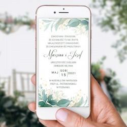 ZAWIADOMIENIE/ZAPROSZENIE ślubne elektroniczne. grafika z zielonymi gałązkami i listkami oraz Twoim tekstem.