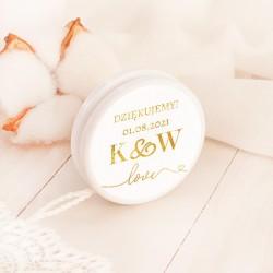 Upominek dla gości weselnych w postaci jojo. Etykietka udekorowana grafiką z kolekcji Only Love