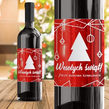 ETYKIETA Na Wino Wyjątkowe Święta Metaliczny Nadruk