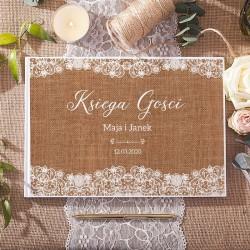 KSIĘGA GOŚCI weselnych Kolekcja Vintage Lace BIAŁE/CZARNE KARTKI