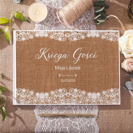 KSIĘGA GOŚCI weselnych Kolekcja Vintage Lace BIAŁE KARTKI