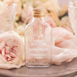 Szklana buteleczka dla gości weselnych. Nowoczesna kolekcja ślubna Obrączki.